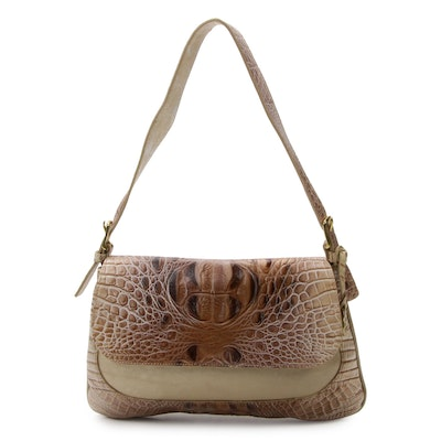 Brahmin Croc-Embossed Champagne Luster Leather Handbag