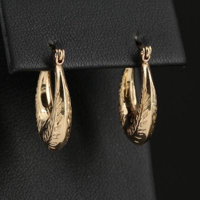 14K Gold Foliate Motif Hoop Earrings