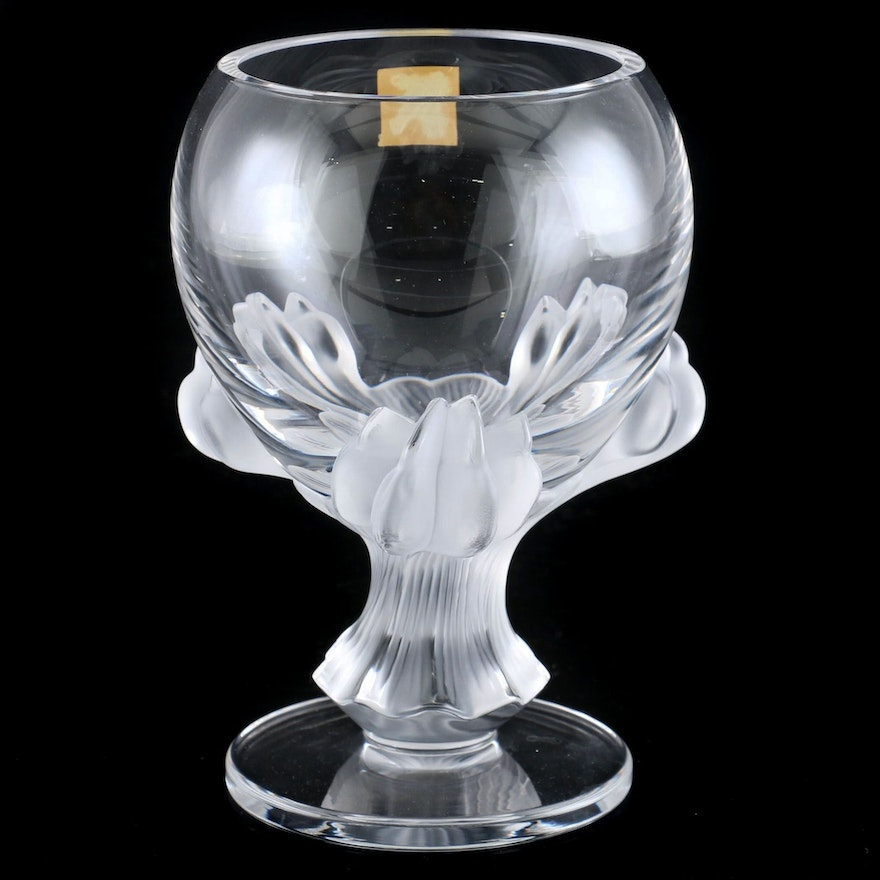 "Lalique ""Bagheera"" Frosted Crystal Lion Paw Pedestal Vase"