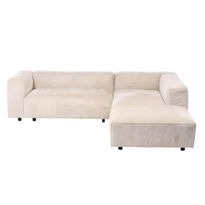 Ligne Roset Modernist Style Upholstered Track Arm Sectional Sofa Plus Ottoman