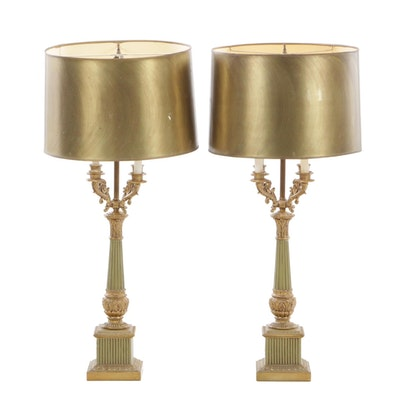 Empire Style Candelabrum Table Lamps, Mid-20th Century