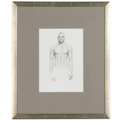Realist Graphite Figure Drawing of Male Nude