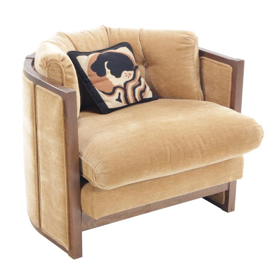 Modern Upholstered Walnut Tub Chair