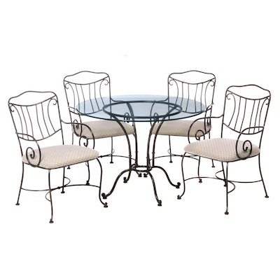 Chromcraft Wrought Metal and Glass Dining Set