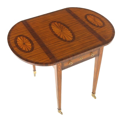 Maitland-Smith Flame Mahogany Marquetry Drop Leaf Side Table, Late 20th Century
