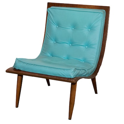 Mid Century Modern Tufted Vinyl Bent Wood Chair