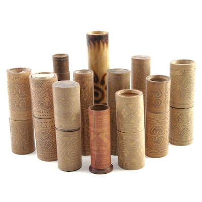 Indonesian Engraved Bamboo Betel Lime Containers