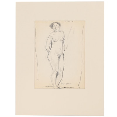 Edgar Yaeger Figural Graphite Study, Early 20th Century