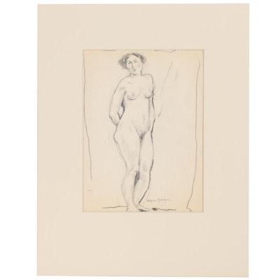 Edgar Yaeger Figural Graphite Study, Early 20th Century