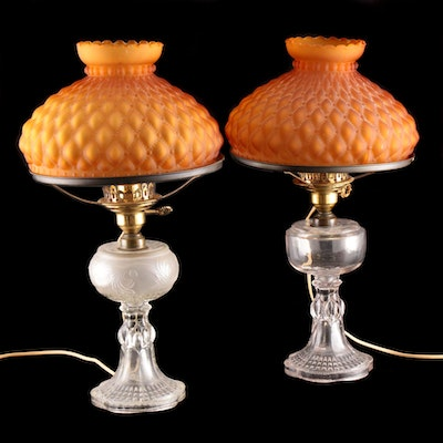 Pressed Glass Converted Oil Lamps with Quilted Glass Shades