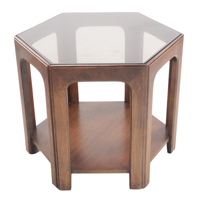 Mid Century Modern Hexagonal Walnut End Table with Tinted Glass