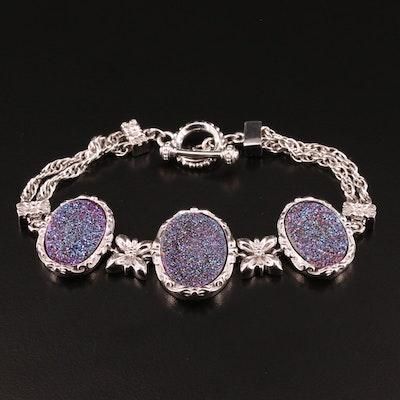 Sterling Druzy Quartz Bracelet