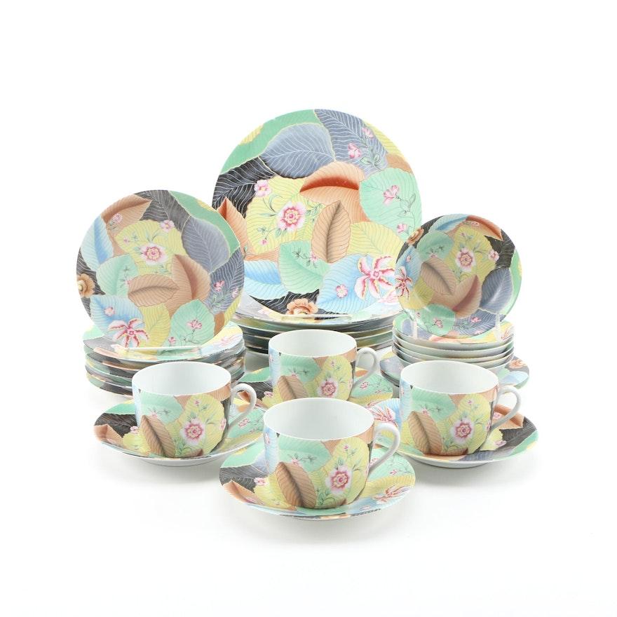 Porcelaine Lafarge Leaf and Floral Patterned Limoges Porcelain Dinnerware
