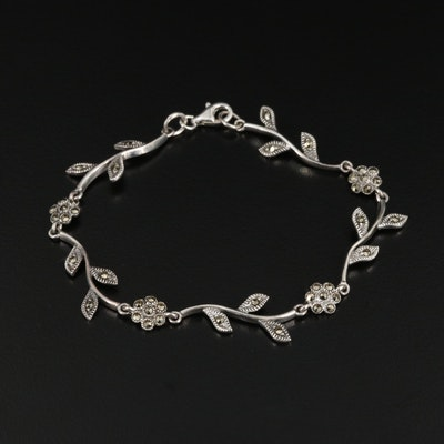 Sterling Silver Floral Link Bracelet with Marcasite Accents