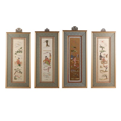 Chinese Embroidered Silk Pictorial Panels