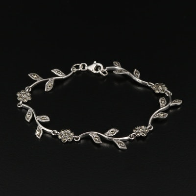 Sterling Silver Marcasite Floral Link Bracelet