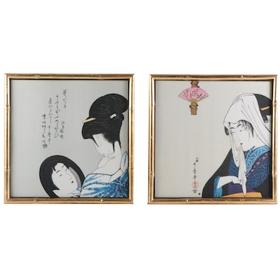 Japanese Reproduction Woodblocks on Silk After Kitagawa Utamaro