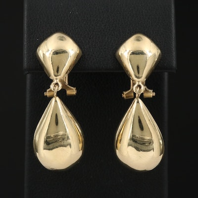 14K Clip-On Drop Earrings