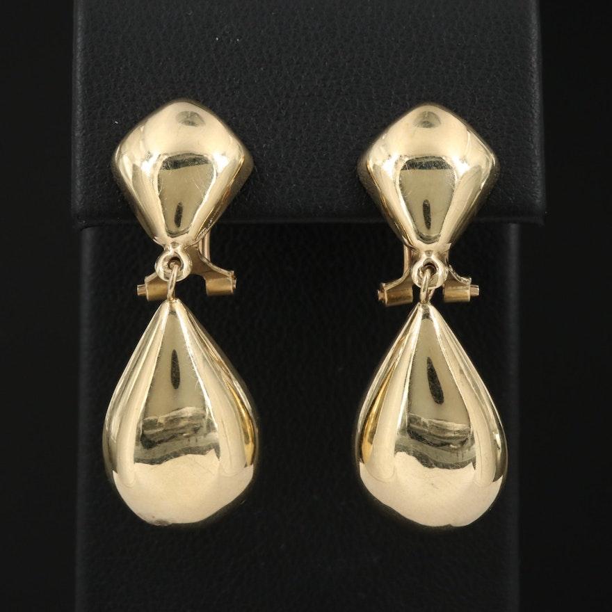 14K Clip-On Drop Earrings