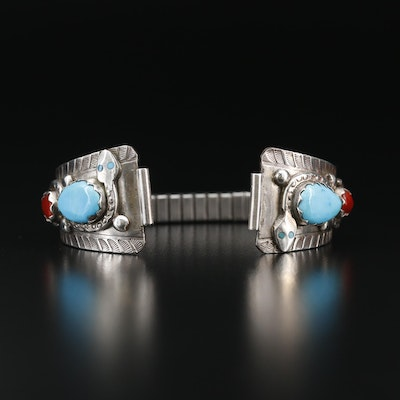Effie Calavaza Zuni Sterling Silver and Coral Wristwatch Bracelet