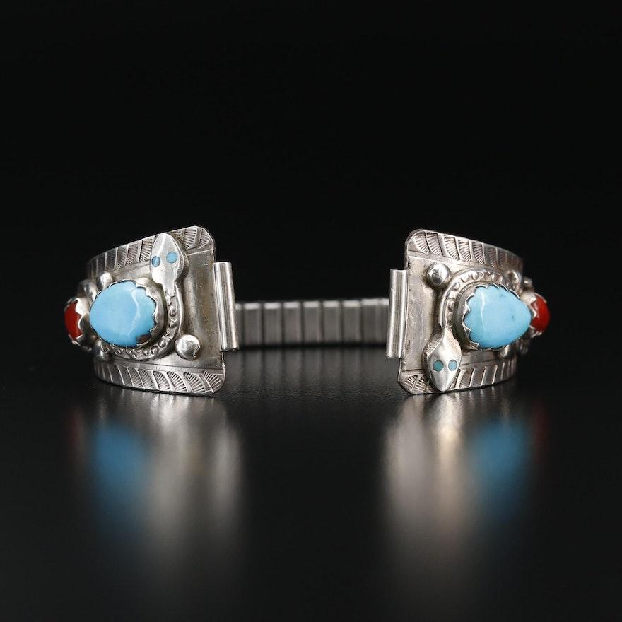 Effie Calavaza Zuni Sterling Silver and Coral Wristwatch Bracelet