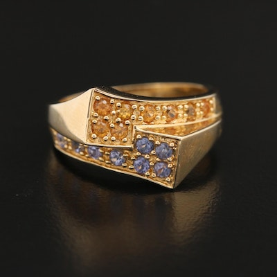 14K Gold Tanzanite and Sapphire Bypass Ring