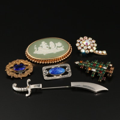 Brooch Selection Featuring Weiss, Wedgwood and Victorian Sterling Silver Brooch