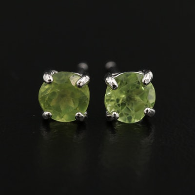 Sterling Silver Peridot Solitaire Earrings