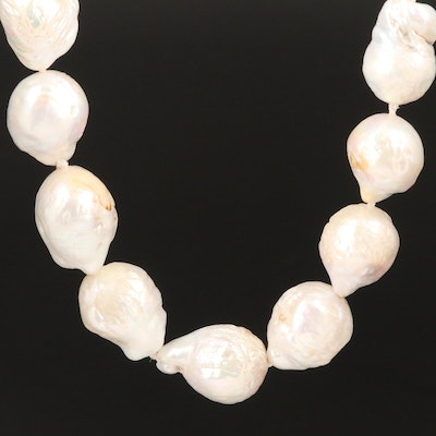 Baroque Pearl Necklace with 14K Diamond Accented Clasp