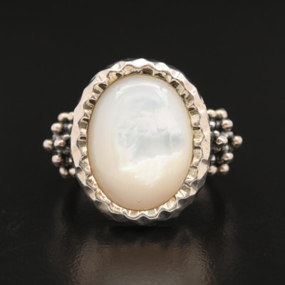 Michael Dawkins Textured Sterling Silver Mother of Pearl Ring