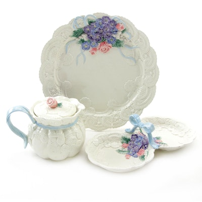 "Fitz & Floyd ""Victorian Lace"" Ceramic Platter, Teapot, and Serving Dish"