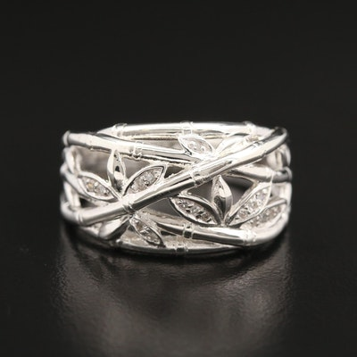 Fine Silver Diamond Ring Featuring Openwork Bamboo Motif