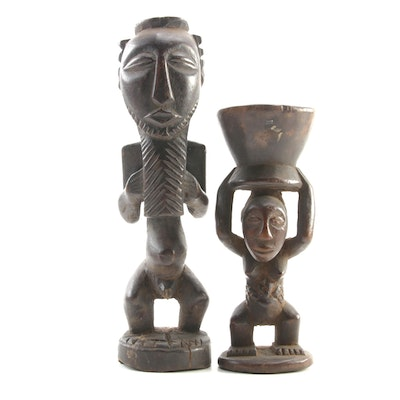 African Congo Ritual Woman and Maln Fertility and Ancestor Wooden Figurals