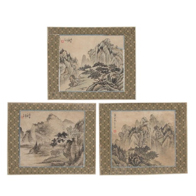 Chinese Ink and Watercolor Paintings of Mountain Landscapes, Mid-20th Century