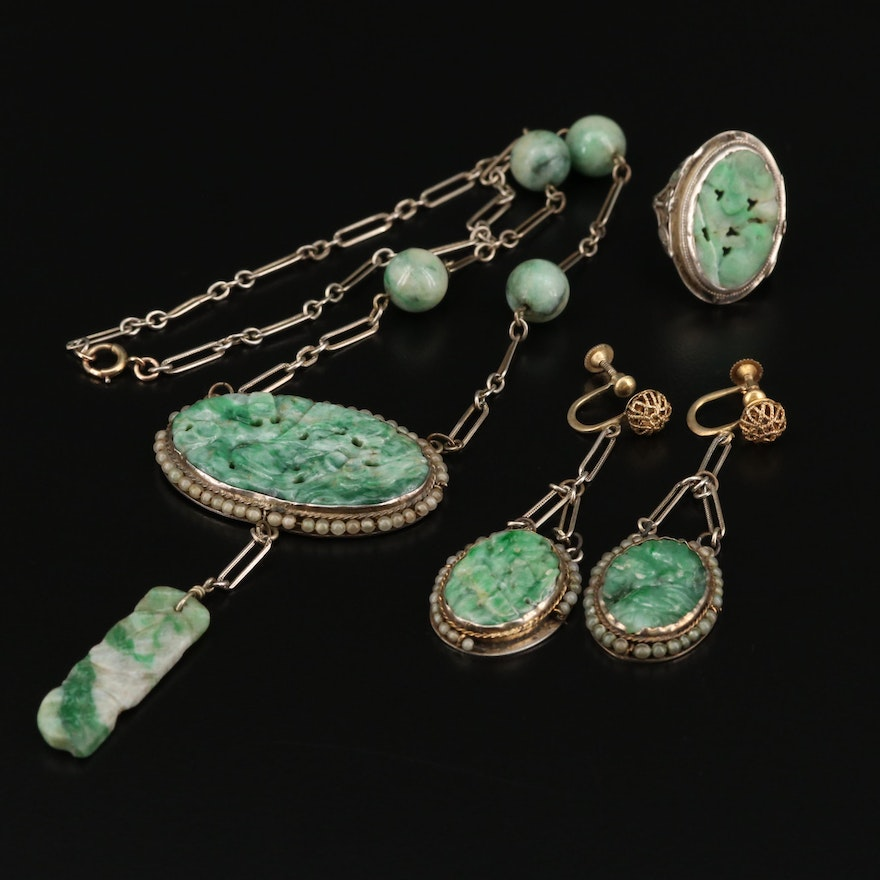 Art Deco Carved Jadeite Necklace, Earrings and Ring Set