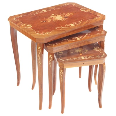 Three Italian Marquetry Graduated Side Tables, Mid to Late 20th Century