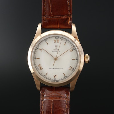 Tudor Oyster 14K Gold Stem Wind Wristwatch