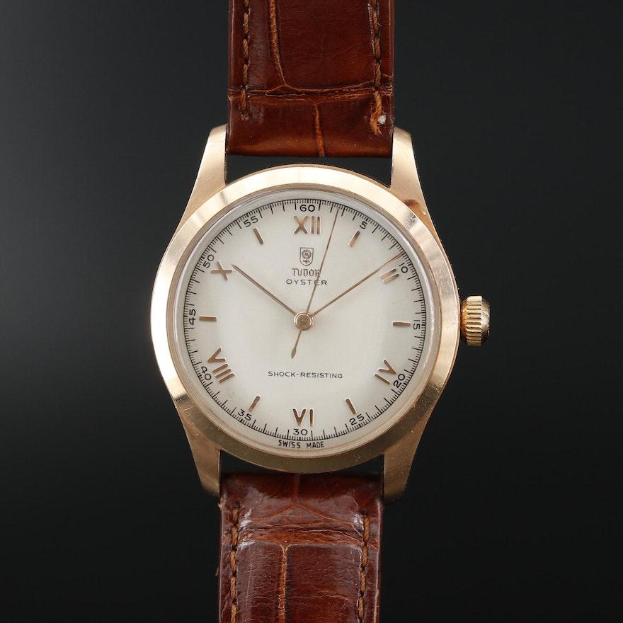 Tudor Oyster 14K Gold Stem Wind Wristwatch