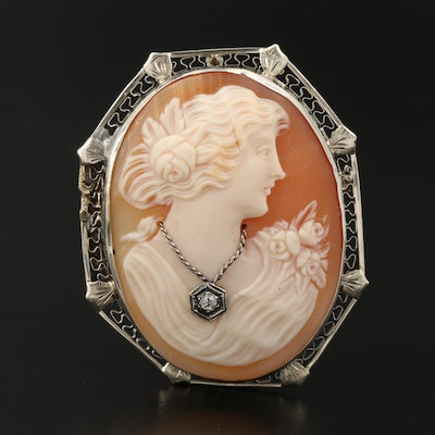 Early 1900's 14K Carved Helmet Shell and Diamond Cameo Habillé Converter Brooch
