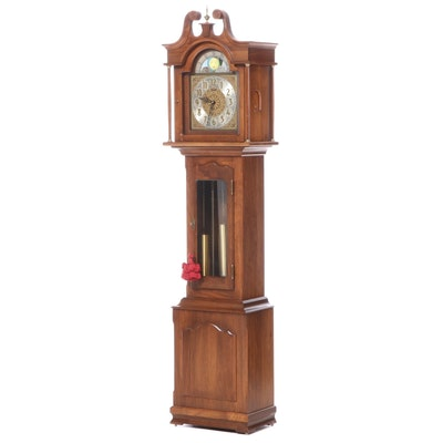 "Daneker ""The President"" Walnut Moon-Phase Grandfather Clock, Mid-20th Century"