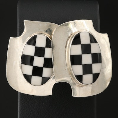 Sterling Silver Checkerboard Square Button Earrings
