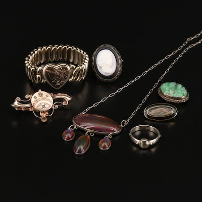Victorian Jewelry Featuring Dragon's Breath Glass Necklace, Jet and 10K