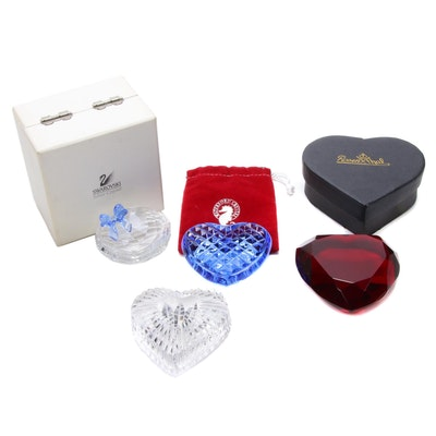 Swarovski, Rosenthal and Waterford Crystal Heart Paperweights and Trinket Boxes