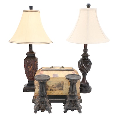 Resin Table Lamps, Candle Holders and a Wooden Decorative Box