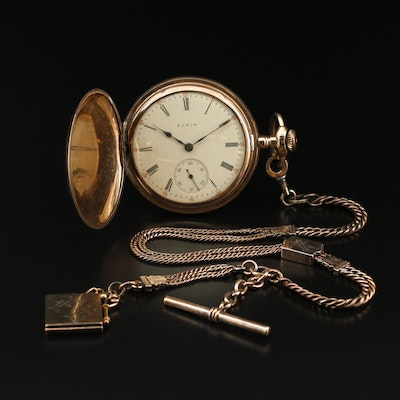 1910 Elgin Gold Filled Hunting Case Pocket Watch with Chain Fob and Locket