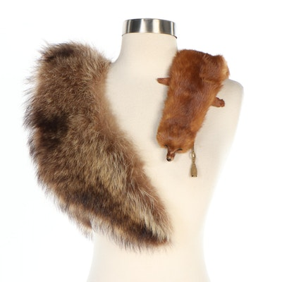 Marten Pelt Collar and Raccoon Fur Stole