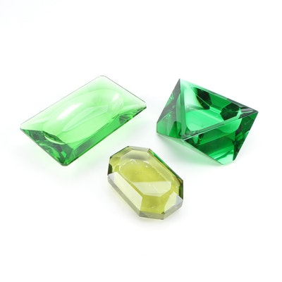 Faceted Green Art Glass Ashtrays with Gem Shaped Paperweight