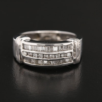 14K Gold Diamond Triple-Row Channel Ring