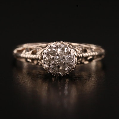 Vintage 14K Diamond Cluster Ring with Scrollwork Detail