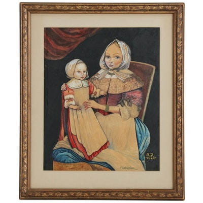 F. Bergère Gouache Painting of Mother and Child